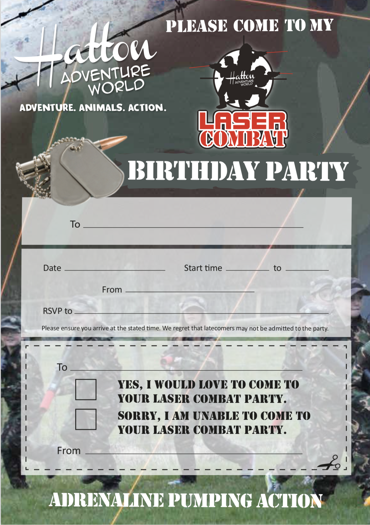 Laser Combat Party Invites